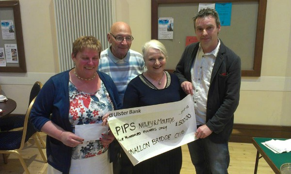 Clonallon Bridge Club Warrenpoint Present Cheque donation to PIPS Newry & Mourne