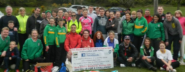 Some of the sixty plus walkers who completed the An Riocht Slieve Donard Challenge in association with PIPS Newry & Mourne on Sunday afternoon